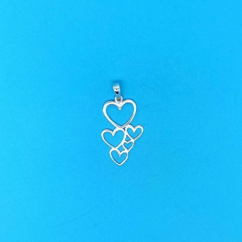 Genuine 925 Sterling Silver Cut Our Five Heart Love Pendant